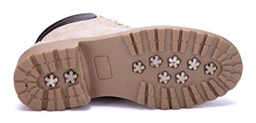 Schuhtempel24 Damen Schuhe Boots Stiefel Stiefeletten Blockabsatz 3 cm Beige