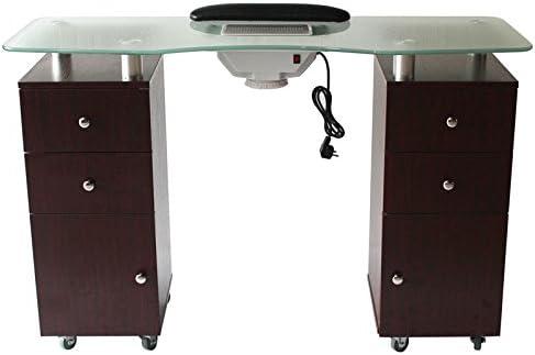 FIGARO manicura mesa con repisa de cristal con aspirador, 2 ...
