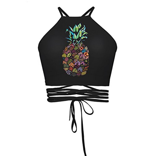 E-TDPAC Summer Sexy Halter Drawstring Skull Crop Tops Sleeveless T Shirts (Pineapple) by E-TDPAC