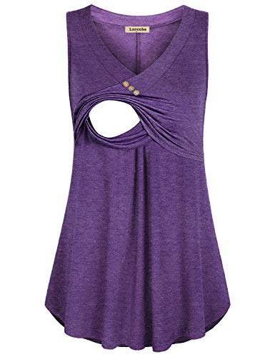Larenba Nursing Tank Tops, Ladies Casual Sleeveless V Neck Comfy Soft Loose Fit Pull-up T Shirts Tunic Dress for Breastfeeding(Violet, Large)