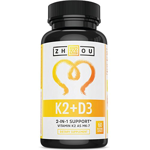 Vitamin K2 (MK7) with D3 Supplement - Vitamin D & K Complex for Strong Bones and a Healthy Heart - 5000 IU of Vitamin D3 & 90 mcg of Vitamin K2 MK-7 - 60 Small & Easy to Swallow Vegetable Capsules