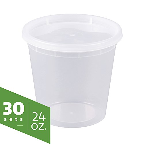 24 oz. Plastic Deli Food Storage Containers with Lids [30 sets] Microwavable, Freezer & Dishwasher Safe (Storage Soup)