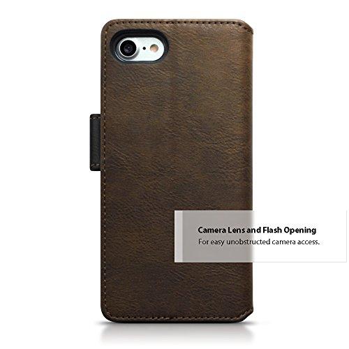 iPhone 7 Cover, Terrapin Premium di cuoio del raccoglitore con Funzione di Appoggio per iPhone 7 Custodia Pelle, Colore: Nero / Bruna
