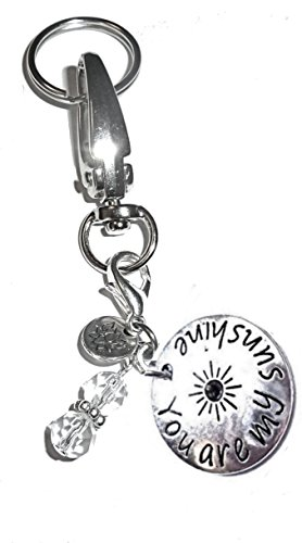 Hidden Hollow Beads Charm Key Chain Ring, Women's Purse or Necklace Charm, Comes in a Gift Box! (You Are My Sunshine)