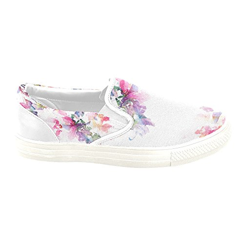 D-Story Custom Sneaker Floral Background Roses Watercolor Women Unusual Slip-on Canvas Shoes OttQM0