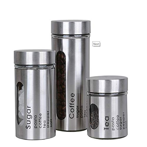Unique Imports #1 Airtight Danish Modern Set of 3 Stainless Steel Metal Finish Tea, Coffee & Sugar Canisters with Clear Window - Airtight Seal