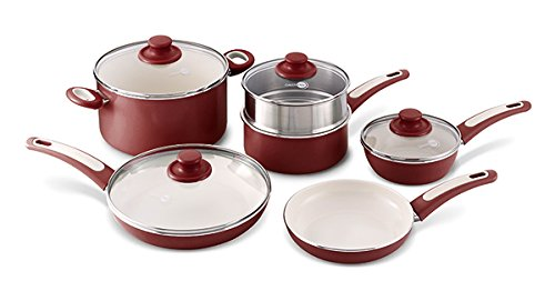GreenPan Focus 10pc Ceramic Non-Stick Cookware Set, Burgundy