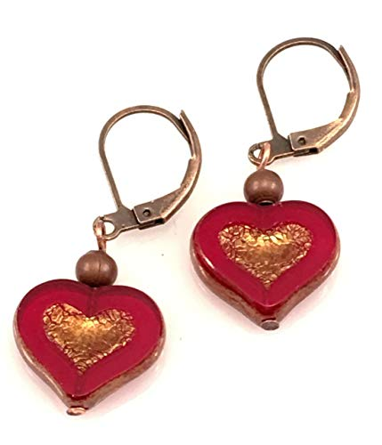 Antiqued Copper and Czech Glass Heart Earrings ()