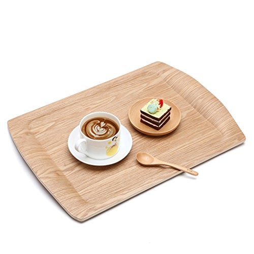 Wooden tray rectangular creative tea tray cup plate European fruit plate tray snack bread wood end plate European snacks dried fruit plate (Color : Wood color, Size : 46.5332.8cm)
