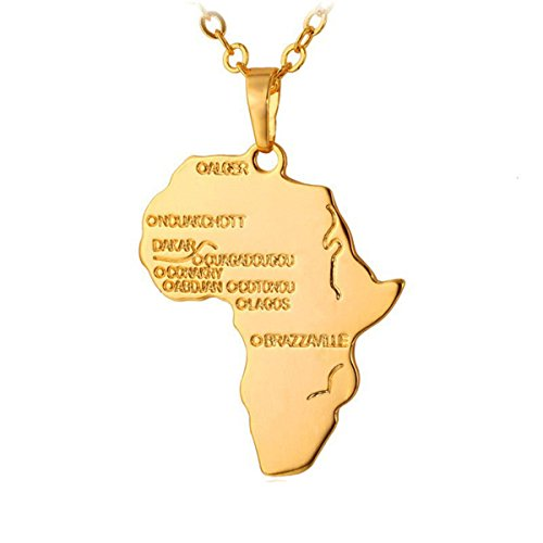 Kebaner Africa Charm Pendant Necklace African Map Hip Hop Jewelry For Women Men Gold Plated