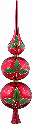 Joy To The World Glitterazzi Holly Berry Finial Polish Glass Christmas Tree Topper 16 Inch New
