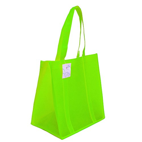 Grocery Tote bag, Large & Super Strong, Heavy Duty Shopping Bags with Stand-up PL Bottom, Non-Woven Convention Reusable Tote Bags, Premium Quality (Set of 5, Lime (Reusable Recyclable Tote Bag)
