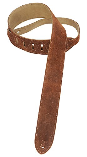 """Levy's Leathers MS12-BRN 2"""" Hand-Brushed Suede Guitar Strap, Brown"""