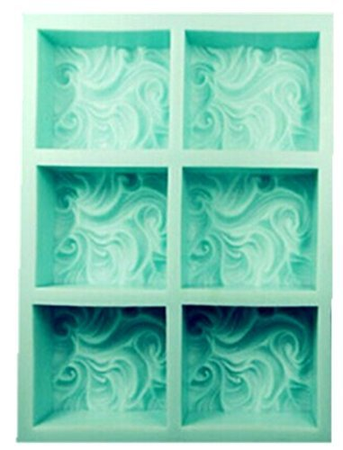 Silicone Wave (New Arrival Design 6Hole Clouds Soap Mold Silicone Pancake Handmade Soap Mold Ocean Waves Swirl Pattern)