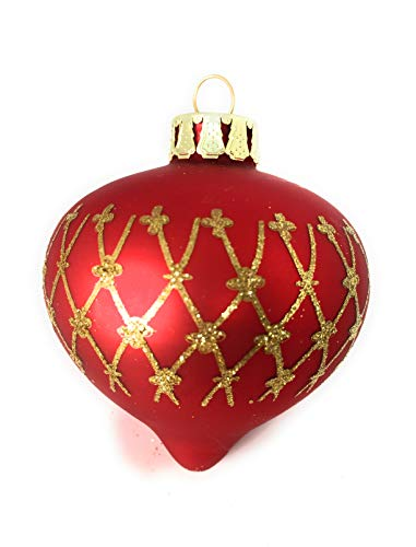 - Noel Rue Red and Gold Glass Teardrop Finial Christmas Tree Ornament