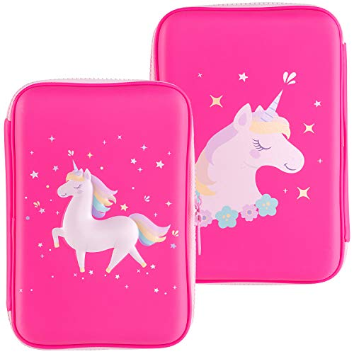 - Gooji Unicorn Pencil Case for Girls (Hard Top) Magical 3D Creature, Bright Colored Storage Box | Compact and Portable Home, Classroom, Art Use | for Markers, Pens, Colored Pencils (Pink)