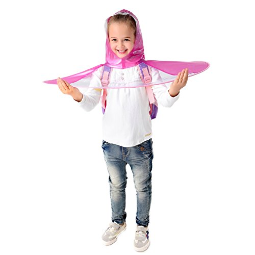 Y-Nut Cute UFO Raincoat, Lovely Large for Kids or Adults, Saucer Poncho Head Umbrella Novelty Headwear Cap Hat Rainwear for Children Pink (Umbrella Yellow Online Buy)