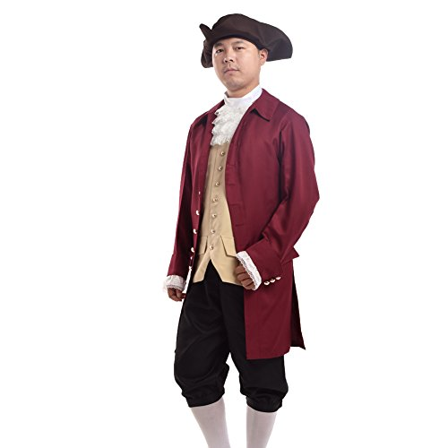 BLESSUME Rococo Men Colonial Costume Patriotic Adult