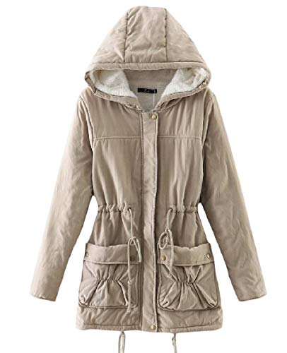 Khaki Plus with XINHEO Coat Women's Outerwear Hood Thick Velvet Size Plus Trench fZwnq7A
