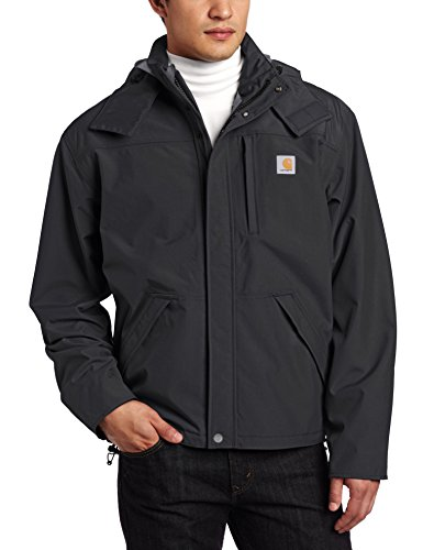 Visor Embroidered Carhartt - Carhartt Men's Shoreline Jacket Waterproof Breathable Nylon,Black,Medium