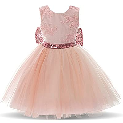 NNJXD Toddler Baby Girls Sequins Backless Princess Tutu Dress for Party