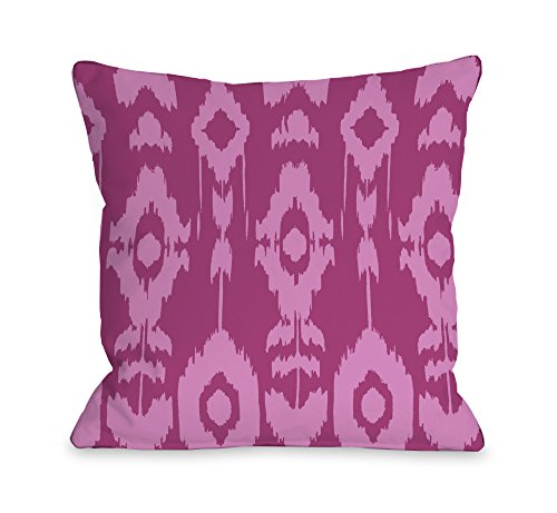 "One Bella Casa Forever Ikat Throw Pillow by OBC, 18""x 18"", Raspberry/Rose from One Bella Casa"