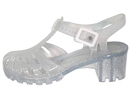 TravelNut Best Small Foot Special Great Buckled Midi Heel Jellies Sandal Shoe for Ladies Women Teen Girls (Clear Size 7)