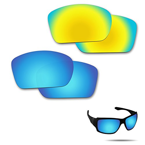 Optic Crystal Golf Ball (Fiskr Anti-saltwater Polarized Replacement Lenses for Oakley Big Taco Sunglasses 2 Pair Packed (Ice Blue & 24K Gold))