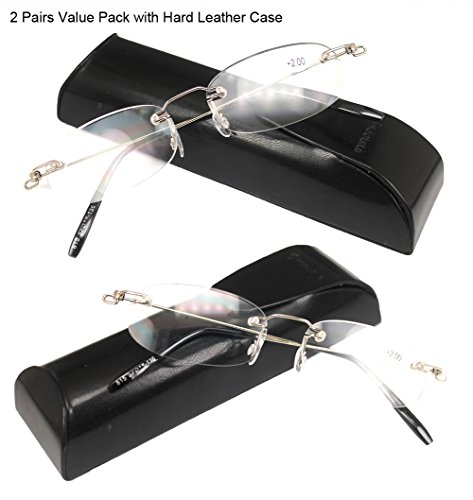 SOOLALA 2 Pairs Unisex Designer Lightweight Rimless Quality Readers Thin Reading Glasses, - Cheap Reading Glasses Rimless