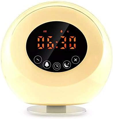 自然スマート起床ライトサンセット睡眠補助灯新しい日の出ウェイクライトLEDカラフルな小型ナイトライト目覚まし時計