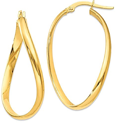 ICE CARATS 14k Yellow Gold Twisted Oval Hoop Earrings Ear Hoops Set Fine Jewelry Gift Set For Women Heart