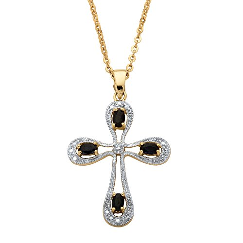 Genuine Midnight Blue Sapphire 18k Gold over Sterlilng Silver Cross Pendant Necklace (Genuine Midnight Blue Sapphire)