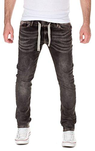 Yazubi Herren Sweathose in Jeansoptik Rick - Jogginghose in Jeans-Look, black-grey (11745), W32