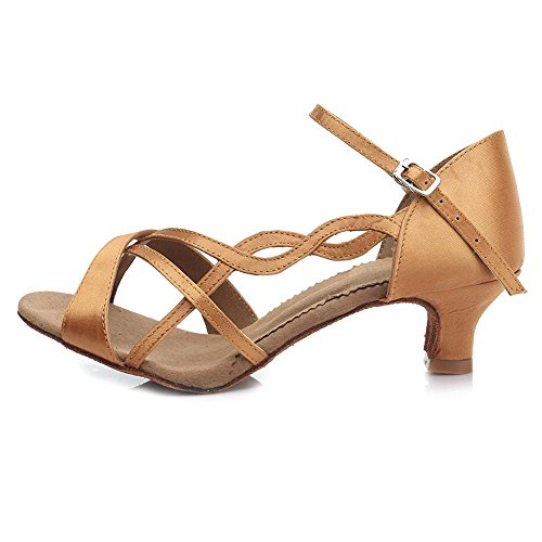 YFF Satin Women's Professional Ballroom Dance Shoe Girls Latin Dance shoes 3 Colors Brown 5CM KnS2QidZ