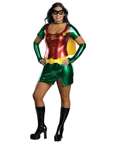 Womens Sexy Superhero Costume Batmans Sidekick Robin Dynamic Mini Dress Costume Sizes: One Size Green