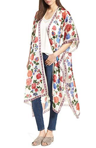 (casuress Women's Sheer Chiffon Blouse Tops Kimono Cardigan Floral Loose Cover Ups Outwear Plus Size)