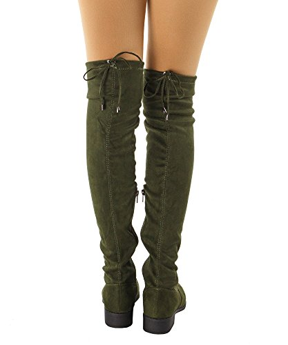 RF ROOM OF FASHION Women's Faux Suede Back Tie Fitted Flat to Low Chunky Heel Over The Knee High Boots Olive (8) by RF ROOM OF FASHION (Image #2)