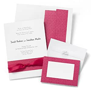 Hortense B. Hewitt Wedding Accessories Print Yourself Invitation Kit, Fuchsia Band, Pack of 50