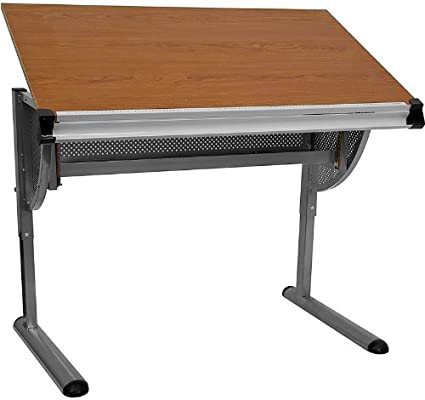 Amazon.com: Offex Adjustable Drawing and Drafting Table with Pewter ...