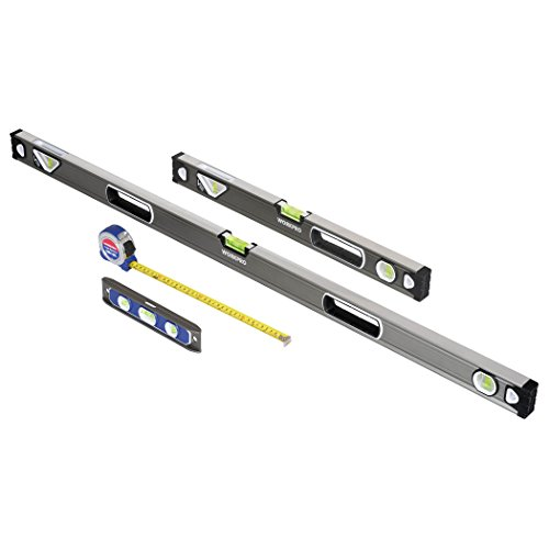 Workpro 4-Piece Measuring Tool Set, Torpedo, Spirit Level, Tape Measure with Carrying Bag