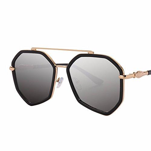 polígono gafas big de box negro Silver gafas XIAOGEGE de marea sol sol film color Las irregular chica elegante Pfw5qx4Iw