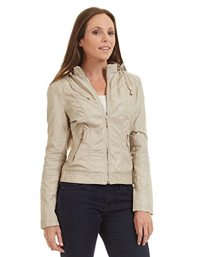 (Lock and Love LL WJC1425 Womens Faux Leather Inner Fleece Hoodie Jacket M Cream)