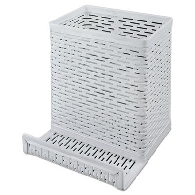 Urban Collection Punched Metal Pencil Cup/Cell Phone Stand, 3 1/2 x 3 1/2, White