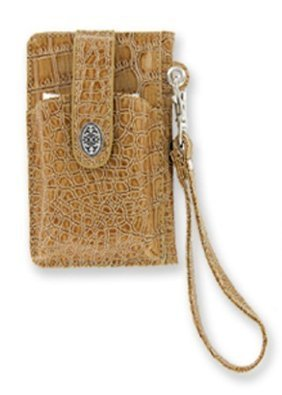 Milano Wallet Credit Card Cell Phone Holder Faux Croc (Taupe)