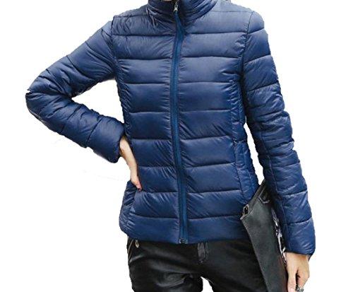 EKU Women's Solid Stand Collar Zipper Pocket Down Coats Jacket L Navy Blue