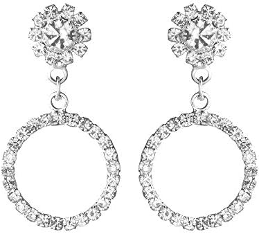 c45b9a7bb Shining Jewel Elegant Silver Plated Crystal CZ American Diamond Dangle Drop  Designer Earrings for Women,