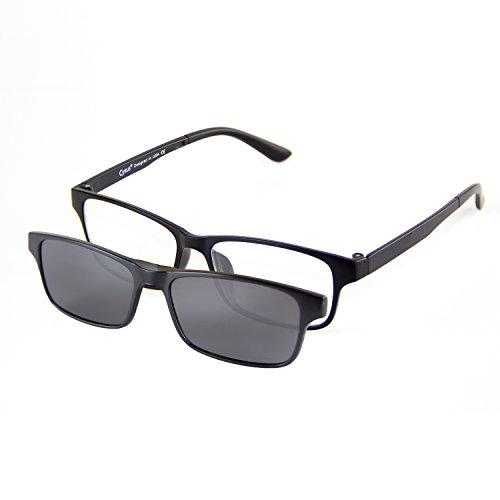 Cyxus [Two in One SET] Blue Light Blocking Glasses with Clip On Polarized Sunglasses, Lightweight Rectangular Frame Men/Women (Black - Polarised Or Not