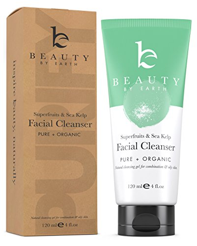 Facial Cleanser - Organic and Natural Gel Daily Face Wash Anti Aging, Deep Pore Cleansing Soap for Acne Prone Breakouts, Normal, Oily or Combination Skin, Best for Men & Women, Can Use With Brush