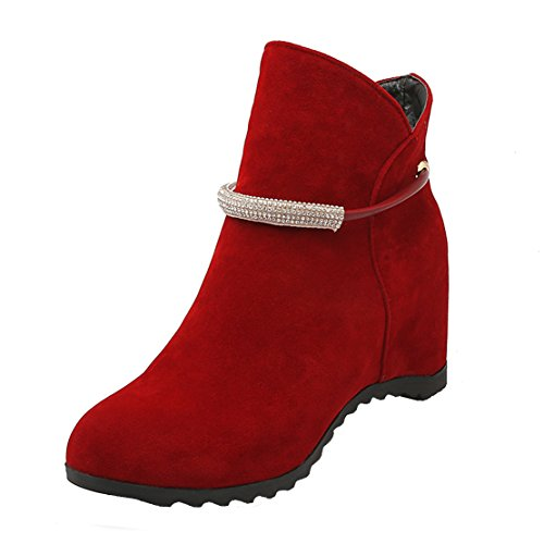 Bootie Red Winter Slip Wedge with Rhinestones Boots Internal Increased AIYOUMEI on Women's Autumn Ankle cO4wpqYBqW