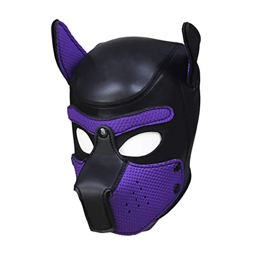 Meihuida Neoprene Full Face Mask Dog Puppy Hood Custom Animal Head Mask Novelty Costume Dog Head Masks (Black+Purple) -